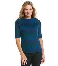Ruby Rd.® Fringe Cowlneck Ombre Sweater