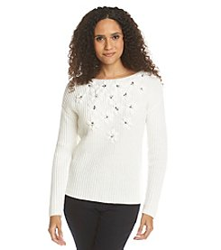 Ruby Rd.® Go Platinum Embellished Floral Sweater
