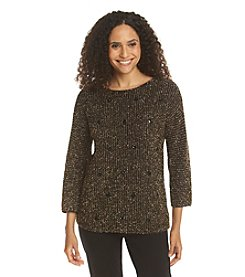 Ruby Rd. Sweater Weather Embellished Metal Sweater