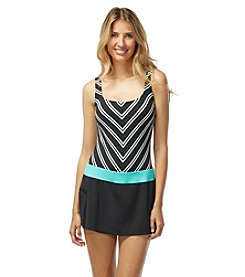 Beach House® Stripe Tank Skort Swimdress One-Piece