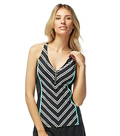Beach House® Stripe Racerback Zipper Front Tankini Top