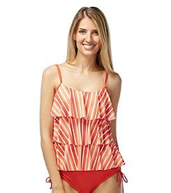 Beach House® Stripe Ruffle Tankini Top