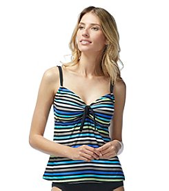 Beach House® Stripe Adjustable Neckline Tankini Top