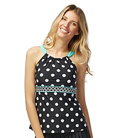 Beach House® Dots Spliced High Neck Tankini Top