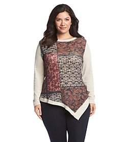 Democracy Plus Size Patchwork Print Top