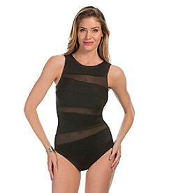 Miraclesuit® Piped Hineck With Mesh One-Piece