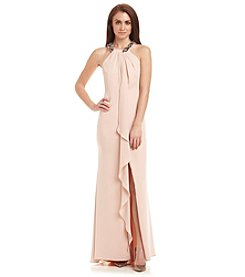 Calvin Klein Crepe Ruffle Gown