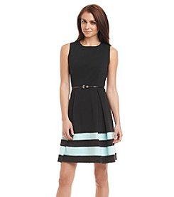 Calvin Klein Striped Ponte Fit And Flare Dress