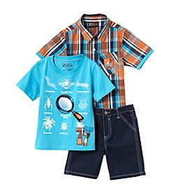 Nannette® Boys' 2T-4T 3-Piece Shirt And Shorts Set