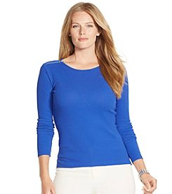 Lauren Ralph Lauren® Plus Size Zip-Shoulder Cotton Tee