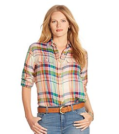 Lauren Ralph Lauren® Plus Size Twill Plaid Shirt
