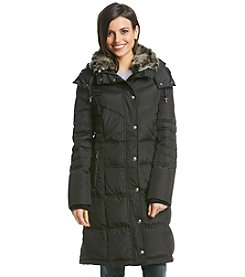 London Fog® Petites' Chevron Quilt Down Coat