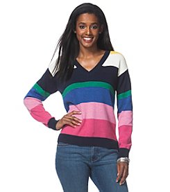 Chaps® Striped V-Neck Sweater