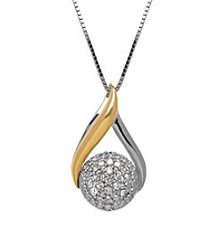 Diamond Pendant Necklace In Sterling Silver