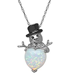 Fine Jewelry Opal Snowman Pendant Necklace in Sterling Silver