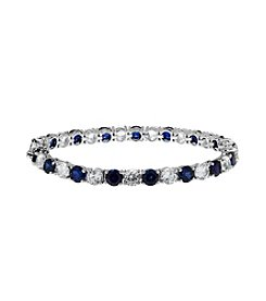 Blue and White Sapphire Bracelet in Sterling Silver