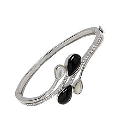Fine Jewelry Onyx and Mother-of-Pearl Bangle in Sterling Silver