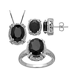 Fine Jewelry Onyx and Sterling Silver Pendant Earrings and Ring Box Set