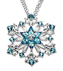 Fine Jewelry Blue and White Topaz Snowflake Pendant Necklace in Sterling Silver