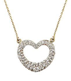 Crystal Heart Pendant Necklace in 14k Yellow Gold