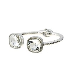 Relativity® Silvertone and Clear Hinge Cuff Bracelet