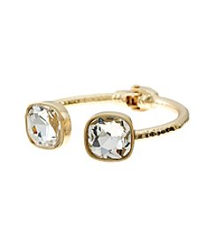 Relativity® Goldtone and Clear Hinge Cuff Bracelet