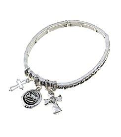 L&J Accessories Silvertone Serenity Prayer Charm Stretch Bracelet