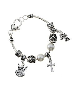 L&J Accessories Silvertone and Pearl Angel and Cross Charm Bracelet