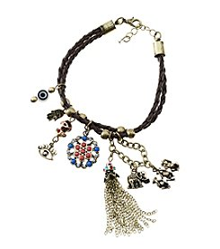 L&J Accessories Goldtone Brown Leather Monkey Tassel Charm Bracelet