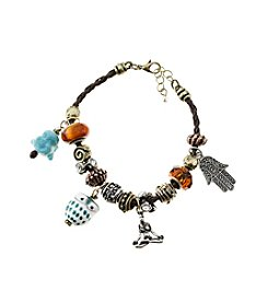 L&J Accessories Tri-Tone Brown Leather Buddha, Owl and Hamsa Charm Bracelet