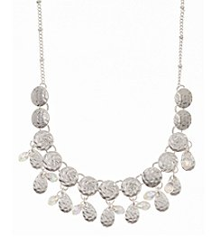 Nine West Vintage America Collection® Worn Silvertone Shaky Disc Frontal Necklace with Crystal Accents