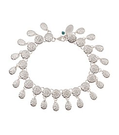 Nine West Vintage America Collection® Worn Silvertone Shaky Disc and Crystal Bead Bracelet