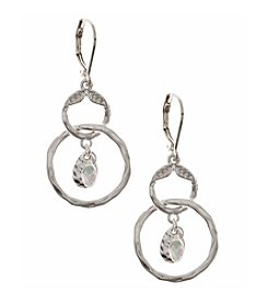 Nine West Vintage America Collection® Worn Silvertone Orbital Drop Earrings with Crystal Accent