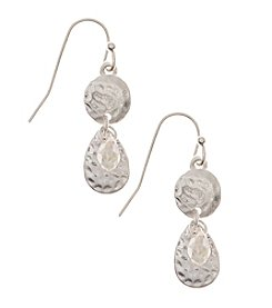 Nine West Vintage America Collection® Worn Silvertone Double Drop Leverback Earrings