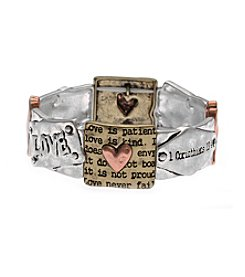L&J Accessories Tri-Tone Love Is Patient Corinthians 13.4 Inspirational Stretch Bracelet