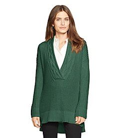 Lauren Ralph Lauren® Cotton Split-Neck Sweater