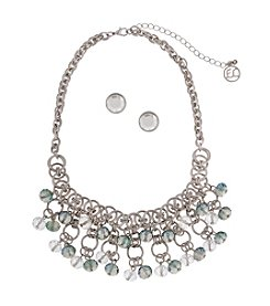 Erica Lyons® Silvertone Beaded Bib Necklace and Earrings Set