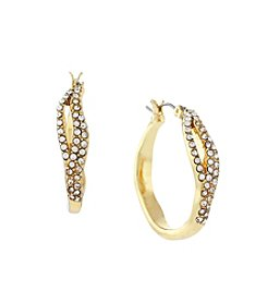 Jessica Simpson Goldtone Organic Pave Hoop Earrings