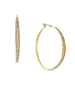 Jessica Simpson Goldtone Large Organic Pave Hoop Earrings
