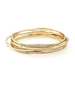 Jessica Simpson 5-pc. Goldtone Organic Pave Bangle Bracelet Set