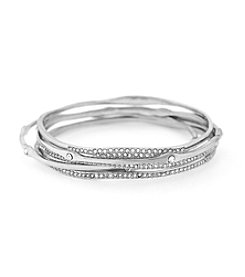 Jessica Simpson 5-pc. Silvertone Organic Pave Bangle Bracelet Set