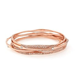 Jessica Simpson 5-pc. Rose Goldtone Organic Pave Bangle Bracelet Set
