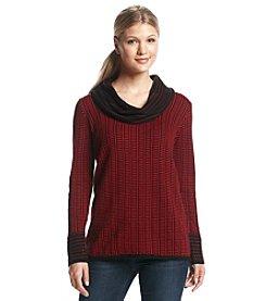 Calvin Klein Cowlneck Grid-Stripe Sweater