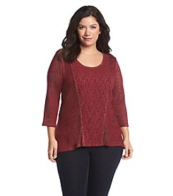 Oneworld® Plus Size Lace Trim Top