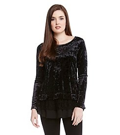 Karen Kane® Crushed Velvet Lace Top