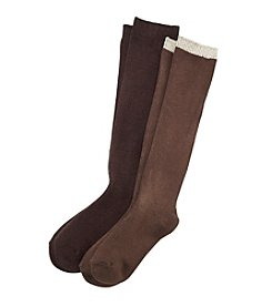Relativity® 2-Pack Cable Rib Crew Socks