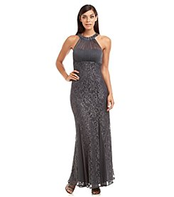 NW Collections Lace Illusion Neckline Gown