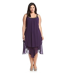 S.L. Fashions Plus Size Braided Necklace Tiered Dress