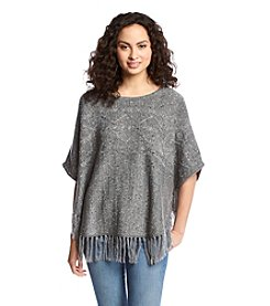 Sequin Hearts® Fringe Pullover Poncho