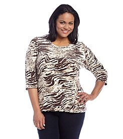 Laura Ashley® Plus Size Marble Print Top